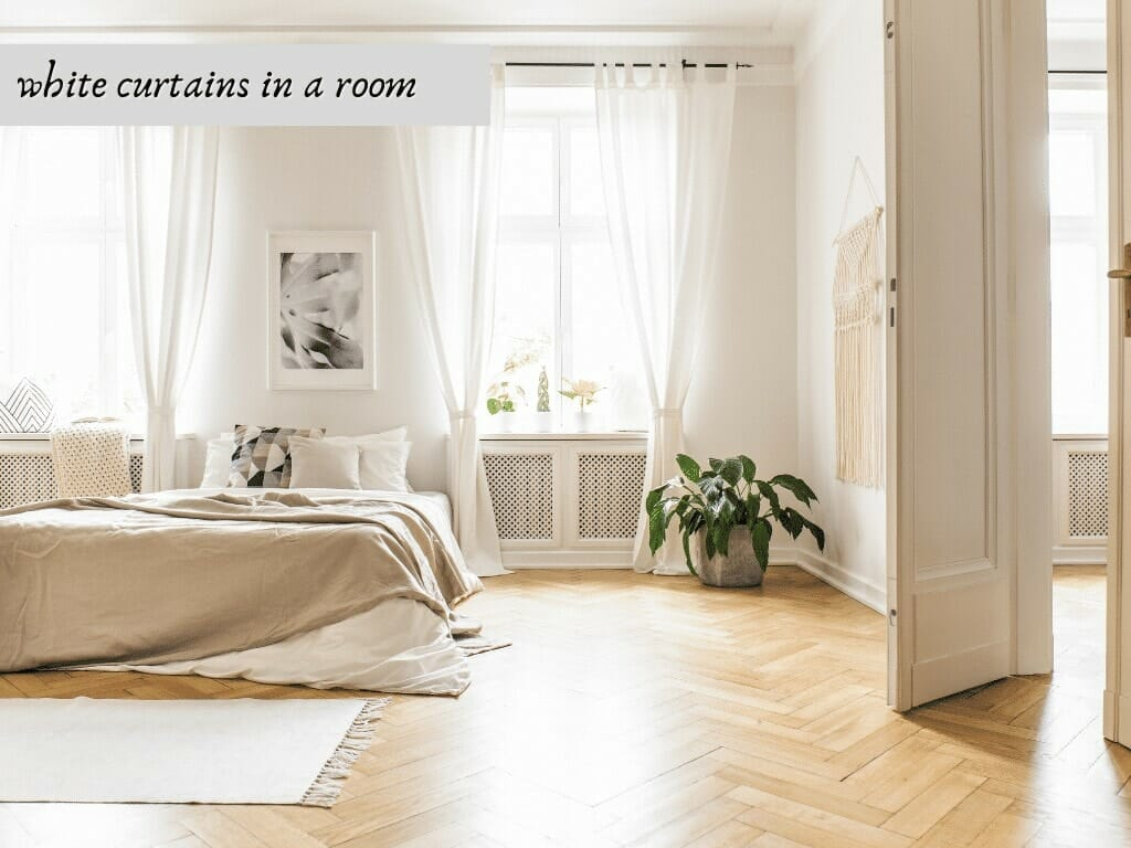 white curtains in a room