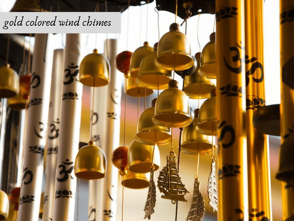 gold colored wind chimes